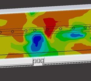 Cartographie CFD des températures dans un atelier de tests de matériel de chantier à Grenoble