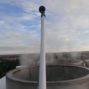 Mesure du niveau de bruit en tête de cheminée dans une chaufferie