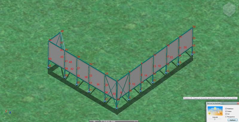 Calcul de la structure pour implantation d'écrans acoustiques