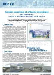 isolation acoustique et efficacité énergétique