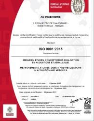 Certificat ISO9001 version 2015 Ad ingénierie .2017 2020