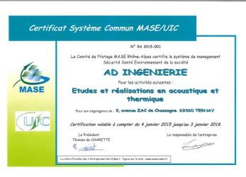 Certification MASE Ad ingénierie pour 3 ans